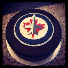 Winnipeg Jets NHL cake Jets Hockey, Hockey Cakes, Fun Deserts, Party Cakes, Cupcake Cakes, Cupcakes, Holiday Parties, Birthday Parties, Happy Birthday