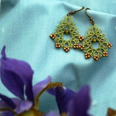 lovely earrings tatted with beads