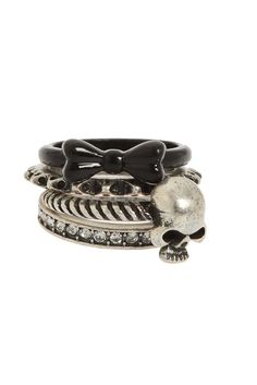 BOW SKULL RING 4 PACK