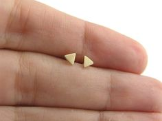 Tiny Triangle Earrings - Solid Gold Studs - 14k Gold Earrings - Minimalist - Geometric Jewelry