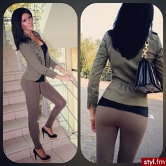 Classy outfit. Olive green blazer,Coco leggings with black heels.