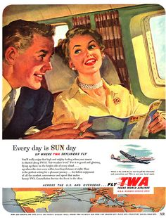 TWA vintage travel advertisement - Trans World Airlines Retro Airline, Retro Ads, Vintage Advertisements, Vintage Ads, Vintage Airline, 1950s Advertising, Travel Ads, Airline Travel, Travel And Tourism