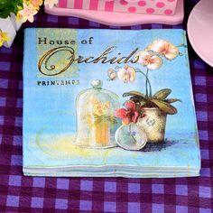Oil painting Blue Orchid Paper Napkin Festive & Party Cafe Tissue Napkins Decoupage Decoration Paper 33cm*33cm 20pcs/pack/lot