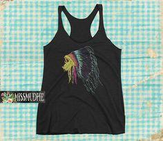 Rainbow Indian Headdress war bonnet native american tribal tank top racerback black boho western Texas rodeo cowgirl yoga workout shirt pink by missmudpie on Etsy