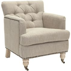 @Overstock - Make a bold statement with this brass nailhead chair. This chair has an antique feel with its pickled oak caster feet and tufted back. Its wooden frame, linen upholstery, and brass nailhead detail add seating and style to your living area.http://www.overstock.com/Home-Garden/Manchester-Taupe-Brass-Nailhead-Club-Chair/6758020/product.html?CID=214117 $423.59