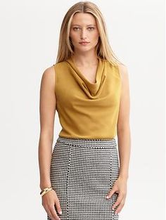 A nice alternative to a plain t-shirt-@Snappy Casual Image Consulting Cowl-neck shell | Banana Republic