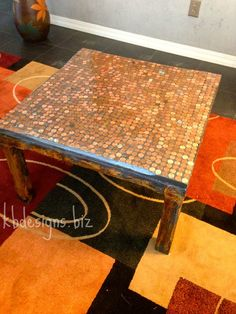 Penny Table Top. Modern Masters Metal Effects Frame.