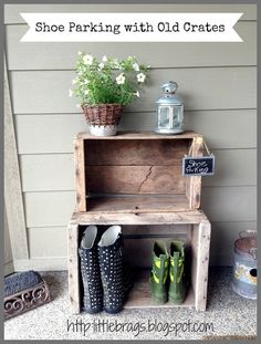 tons of outdoor decorating inspiration from little brags, gardening, outdoor living, porches (screened porch decorating budget) Decorating On A Budget, Porch Decorating, Outdoor Deck Decorating, Old Crates, Wooden Crates, Wooden Shoe, Wine Crates, Decks And Porches, Front Porches