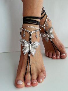 Papillon sandales sandales Hippie noir Boho Magenta crochet sandales Hippy cheville Gypsy sandales bijoux Tribal pied plage mariage