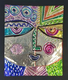 Tooling Foil Silberzweig Portraits - Kids Art Classes, Camps, Parties and Events - Small Hands Big Art Kids Art Class, Art Lessons For Kids, Art Lessons Elementary, Art For Kids, Feuille Aluminium Art, Aluminum Foil Art, 6th Grade Art, Grade 3, Inspiration Art