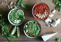 Quick and easy guide on how to make pesto, pesto variations, and how to keep that bright green color of the basil when making pesto. How To Make Pesto, Making Pesto, Homemade Pesto, Bright Green, Palak Paneer, Finger Foods, Cooking Tips, Basil, Appetizers