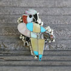 ZUNI INLAY PARROT PIN BY LORETTA GIA NATIVE AMERICAN