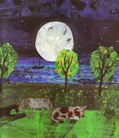Eric Carle, collage, texture, illustration, cow, sea, boat, moon, mark making