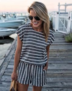 loving this coordinated stripe look.