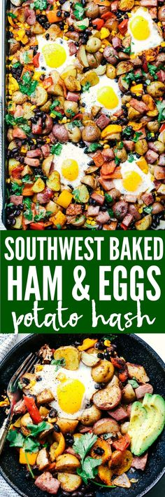 Southwest Baked Ham and Eggs Potato Hash is a fabulous breakfast made all in one pan. Crispy potatoes, ham, peppers, black beans, and corn all surround a perfectly baked egg. This is a hearty flavorful breakfast that the family will love!