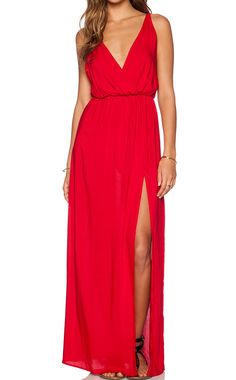 Red Deep V Neck Split Maxi Dress 18.33
