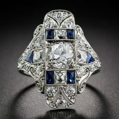 1.25 Carat Art Deco Diamond and Sapphire Dinner Ring - 10-3-7407 - Lang Antiques