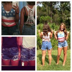 4th of July! Homemade shorts and shirts