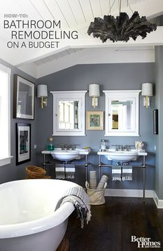Pretty budget bathroom decorating ideas via @Gayle Robertson Robertson Roberts Merry Homes and Gardens