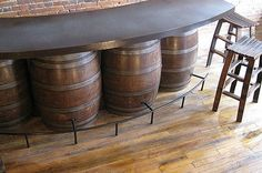 If I could find barrels for cheap, I would SO do this for our garage.