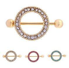 2 PCS Baja Sexy Mainan Puting Barbel Bar Emas dengan Putaran Gems Untuk Wanita Hadiah Stiker Puting Penutup TAIERS Piercings Tubuh perhiasan
