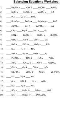 Balancing Chemical Equations Worksheet Worksheet Hot