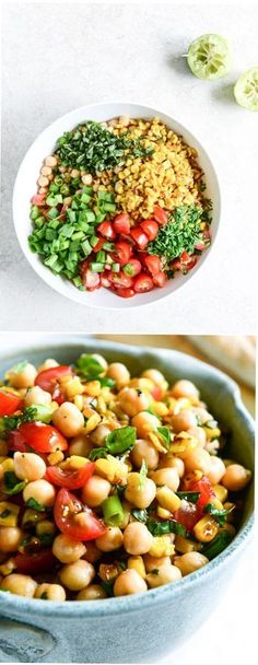 Summer Chickpea Salad with Honey Garlic Lime Vinai - Ruccola Salat Rezepte salat rote beete Veggie Recipes, Salad Recipes, Vegetarian Recipes, Cooking Recipes, Healthy Recipes, Cooking Tips, Healthy Snacks, Clean Eating, Healthy Eating