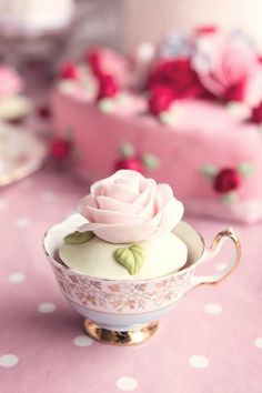 Pink, roses and teacup