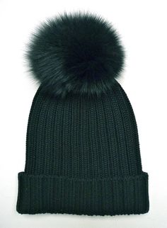 7774a28c0ae Black Rib-Knit Fur Pom Pom Bobble Hat Fur