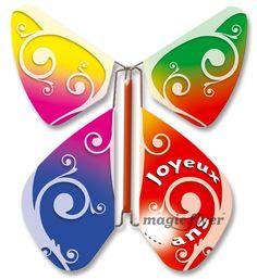 Faire part Magic Flyer / Papillon Volutes Baroques Multicolore / Multicolored baroque volutes butterfly / #papillon #butterfly #multicolore #multicolored #baroque #volutes #carte #card #anniversaire #birthday #magicflyer
