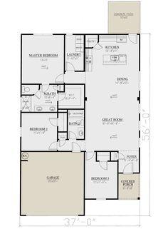 Bungalow Floor Plans, Garage Floor Plans, Craftsman Style House Plans, House Floor Plans, Rectangle House Plans, Narrow Lot House Plans, Best House Plans, 3 Bedroom Floor Plan, Garage Bedroom