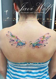 nice Watercolor tattoo - Wings tattooed by Javi Wolf. Wolf Tattoos, Elephant Tattoos, Feather Tattoos, Forearm Tattoos, Body Art Tattoos, Sleeve Tattoos, Tatoos, Unicorn Tattoos, Trendy Tattoos