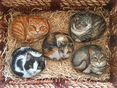 • Custom cat portraits painted on medium sized rocks. • €40 EACH. • Approximate size: 3 x 3.5 inches (10 x 9cm) • Made with acrylic paint and a varnish overcoat. • Perfect present for any cat lover! ***All rocks vary in size and shape, therefore please contact me with a picture of your