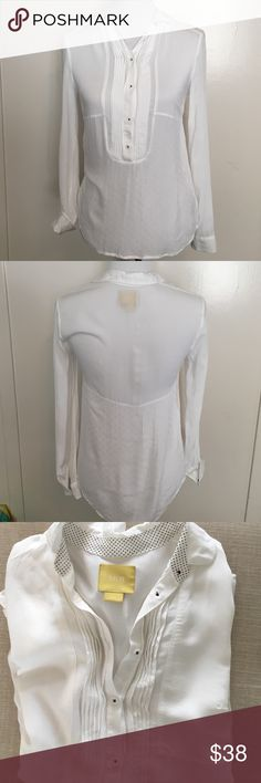 ️⚡️SALE⚡️Anthropologie Maeve White Long Sleeve Top Tuxedo style front why buttons 3/4 of the way down the top is unique being it has three different styles of the material depicted in last picture. Polka dot under collar and under sleeves you can flip up. In EUC. Anthropologie Tops