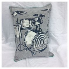 Drummer Throw Pillow-Rock n Roll-Upcycled Eco Friendly-Quilted