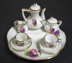 Vintage Lefton Miniature Tea Set Pink Pansies 10 pc set Gold Trim China