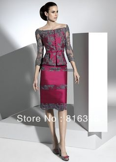Free Shipping New Arrival Hot Sale A-line Lace 3/4 Sleeve With Jacket Knee-length Elegant Satin Mother Dresses Women Dresses