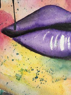 Watercolor, Swedich art, Ladies of Collor, lips💋 Collor, Fish Tattoos, Watercolor Tattoo, Lips, Watercolour Tattoos, Watercolor Tattoos