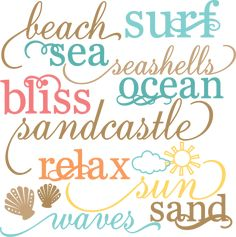 Beach Words Set SVG cut files beach svg files sun svg cuts free svgs free svg cuts free scal files