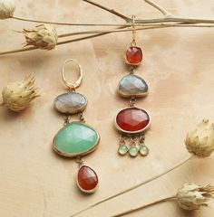 Individualist Earrings - Labradorite, carnelian, chrysoprase and prehnite, backed with sterling silver and framed in 14kt gold.