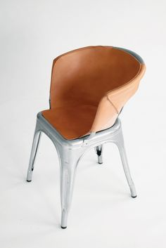 Henry Wilson | leather cover for Tolix chair | http://henrywilson.com.au