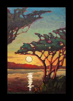 Oil Painting Impressionist Sunset Sky Original Landscape Craftsman Hawkins Art