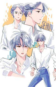 sehun is damn. Chanbaek, K Pop, Chanyeol Baekhyun, Exo Fan Art, Xiuchen, Kpop Exo, Sketch Inspiration, Kpop Fanart, Fantastic Art