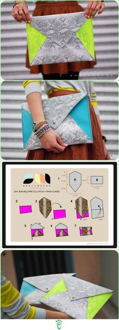 YES you can Make this Yourself :) Neon Color Block Envelope Clutch ::::: ❥ (This is very cute but there are no written instructions so be sure to follow the stitch lines on the photos to see where it needs to be sewn. It would definitely be easy to make.)