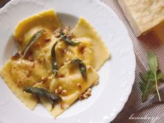 Ravioli with Roasted Pumpkin and Three Cheeses in a Butter Sauce with crispy sage.