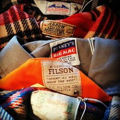 Vintage plaid & twill shirts c/o Filson and other US outdoors/sporting brands. Thinking of where folks wear things like this really gets me daydreaming...