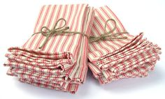 BOUGHT FOR MY WEDDING! Red French Ticking Cloth Napkins - Set of 8 - Wedding Napkins