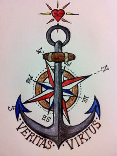 My sketch of a tattoo I drew up for my boyfriend and I once we get married. All rights belong to me the creator, pin it if you like it but please don't say it's yours! The words mean Truth and Strength. The compass for us to always find our way, the anchor for hope and the sacred heart because love is sacred.