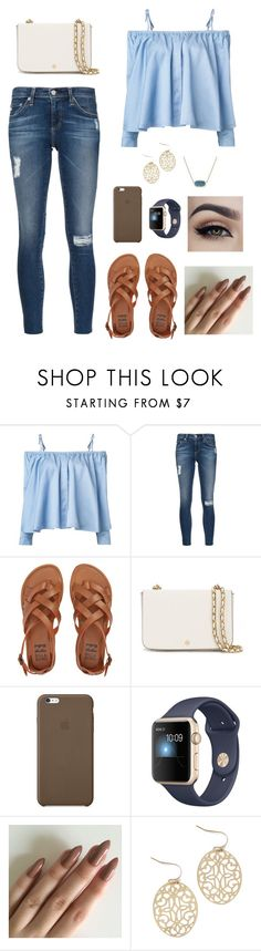 Untitled #77 by gabriellaallen on Polyvore featuring Sandy Liang, AG Adriano Goldschmied, Billabong, Tory Burch, Apple and Kendra Scott