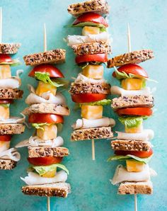 Turkey sandwich kabobs. Get this and more quick and easy lunch kabobs for kids and adults here.